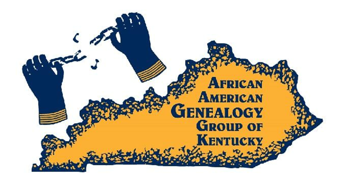 Logo for African American Genealogy Group of Kentucky, hands breaking chain, state of KY in blue and gold