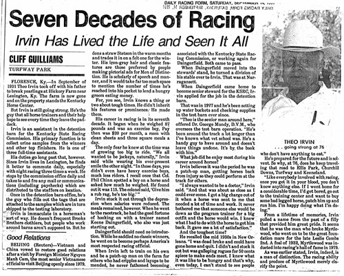 An article published in the Daily Racing Form in 1991 provides a snapshot of the life lived by the first African American Racking Commissioner in Kentucky, Theophilus Irvin Jr.