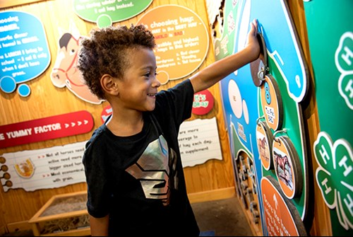 smiling African American boy enjoys learning game